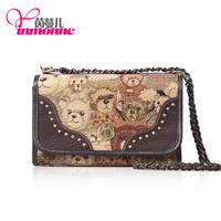 2013 leather jacquard cloth to do China's teddy bear, teddy bear cute handbags series, inclined shoulder bag 809#free shipping.