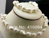 $wholesale_jewelry_wig$ Free Shipping Lovely irregular Baroque Nuclear pearl 11-15mm necklace&bracelet sets 925s clasp