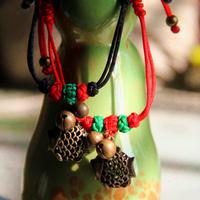 Peach blossom national trend bracelet vintage small fish bell bracelet lovers design