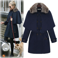 XS-5XL Plus Size Medium-long Woolen Overcoat, Cloak Rabbit Fur Double Breasted Outerwear, Women Fashion Autumn Winter Clothing