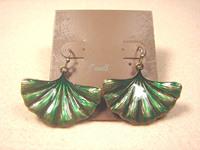 J-WELL Designer Jewelry Vintage Green Fan Shape Palm Leaf Drop Party Fashion Statement 2013 Lucky Women Brand New Hook Earrings