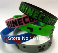 wholesale 500pcs  Minecraft craeeper  Bracelet my world coolie JJ strange fear silicone  Wristband Christmas gift