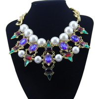New Arrival Luxurious Vintage Chunky Pearl Crystal Stone Choker Statement Necklace for women Multi-color Free shipping