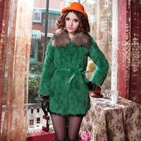 free shippiing Yanerwo fur coat female 2013 raccoon rabbit fur slim medium-long overcoat female