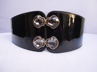 Ultra wide fashion all-match cummerbund pearlizing japanned leather mirror elegant rhinestone buckle black belt decoration