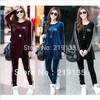 Big size XXXXL Korean Velvet Lint Sports Suit Plus size Fashion Glossy women Fat clothing Sweater High Quality 4XL Top pant Set