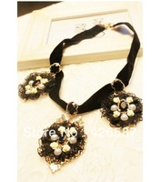 NEW trendy big round black lace pendant fashion statement soft chain necklace