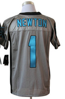 American Football Men's Elite Jerseys #1 Cam Newton Grey Shadow Authentic Jerseys size 40-56 All Stitched(Sewn on)