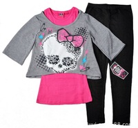 Wholesale,Brand,new arrival 2013 autumn -summer clothing,monster high fashion girls clothes,kids long sleeve 3pcs clothing set