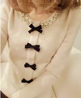 Women's autumn and winter beaded bow long-sleeved shirt women's top sweater