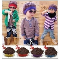 Wig cap style cap knitted hat baby boy cap child hat