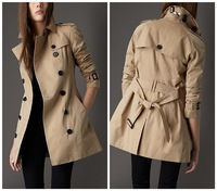 Hot New 2013 Women Fashion British Brand Long Trench Coat/Designer Double Breasted Plaid Long Coat/Outerwear #28011 M-XXL khaki