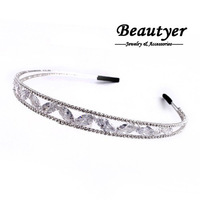 Glitter Leaves Zircon Headbands Wedding Hair Accessories for Women White Gold Plated Tone Bridal Headbands [ Beautyer ] BFS01