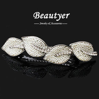 [ Beautyer ] High Quality Romantic Pearl Leaves Wedding Hair Accessories for Women Sweet Silver Tone Hair Clips BFS01