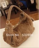 Solid Zipper Versatile casual genuiner rabbit hair handbag fashion handbags for lady free shipping