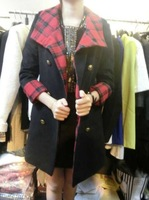 Davida winter new arrival red gold plaid double breasted wool coat outerwear