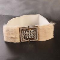 Black cummerbund elegant rabbit fur belt female all-match wide rhinestone belt elastic waist y070