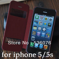 1 pieces new luxury leather flip clamshell back cover case for Iphone 5 5s 5g