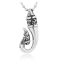 Christmas gift,Beautifully carved hook 316 stainless steel pendant necklace,Gothic retro stainless steel pendant,