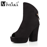 2013 open toe thick heel velvet high-heeled shoes female shoes metal zipper