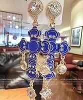 earrings for women fashion 2013 free shipping vintage baroque cross carved rhinestone earrings