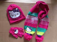 Free Shipping Winter New Design!!3 sets/lot Baby Girl Cartoon Hello Kitty scarf Cute hat+scarf+gloves 3pcs set Kids sweet cap