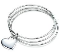 B175 Hot Sell! Wholesale 925 silver bangle bracelet, 925 silver fashion jewelry, Triple Circle heart bangle