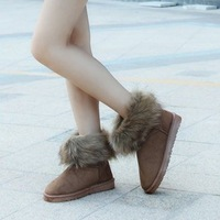 2013 short design fashion fox fur female snow boots thermal cotton-padded shoes flat heel knee-high