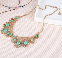 2014 New Fashion New Arrived Elegant Hollow Out Green Imitation Gemstone Fake Collar Necklace N1142