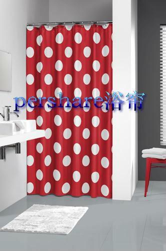 Cortinas De Baño Quality:tergal cortina de ducha de punto rojo y blanco en Cortinas de Ducha de