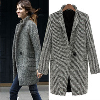 Size S-XL High Quality European Style Autumn/Winter Stand Collar Wool Thickening Long Sleeve Coat Free Shipping LJ776