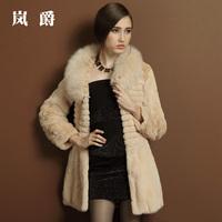 DHL free shiping Fur coat 2014 high quality rex rabbit hair fox fur medium-long lj1219