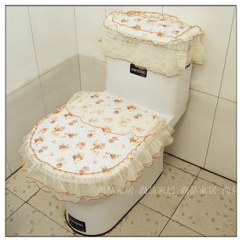 Rustic fabric lace Large toilet mat zipper type toilet cover toilet three piece set