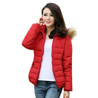 winter warm down cotton-padded jacket short design Women belt plus size fur collar coat free shipping