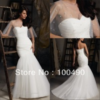 13761 Strapless Mermaid Tulle Skirt Wedding Dresses 2014 beaded cape separately