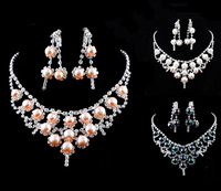 Fashionable noble generous imitation diamond pearl jewelry female wedding suit necklace, earrings  free shipping