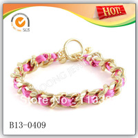 2013 Summer Gold Chain With Pink Satin Cord Bracelets 30pcs/lot