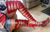 2014 new  women  summer boots  Suede Leather Circus Cutout Boots Rare Red Bottom sexy high heel over the knee boots