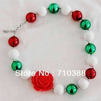 Baby jewelry big red rose flower christmas solid chunky beads statement necklace wholesale free shipping