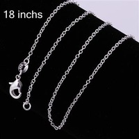 C0011 10pcs/lot Promotion! wholesale 925 silver necklace, 925 silver fashion jewelry Curb Chain 1mm 18 inches Necklace gsse