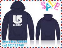 Online Stock Brand Burton Cheap Free Shipping Autumn Winter Men's plush lining hooded cardigans Sweater Man warm hoodies