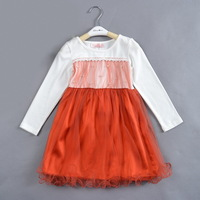 Suit for 4-8 years  High quality fall dresses  5pcs/lot  free shipping BLUE ORANGE 2 COLORS