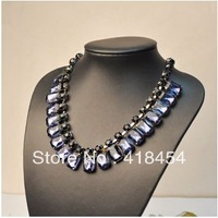 Fashion  Chain Olivary Royal Blue Rhinestone Crystal Choker Necklace
