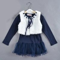 Free shipping 5pcs/lot Suit for 4-8 years  High quality  (2pcs sets girls) brand dress fashion dress dress girls