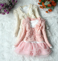[ON SALE]Wholese,1Lot=4sets!Children Kids Clothing Set,Lovely Baby Girl Cloth Sets,Lace Dress+Pearl Coat, girl suits in 2 colors