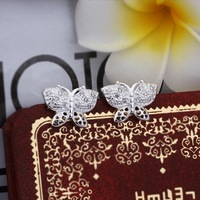 NO Min. Order Free Shipping Butterfly Stud Earrings With AAA Swiss Crystal Fashion Jewelry/Wedding Jewelry 369