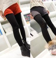 2012 rabbit fur shorts boot cut jeans faux two piece all-match legging female