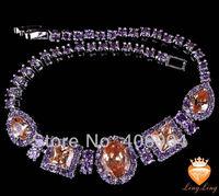 Wholesale Fashion 925 Silver Jewelry Oval Cut Morganite & Amethyst 925 Silver Bracelets Love Style Gift