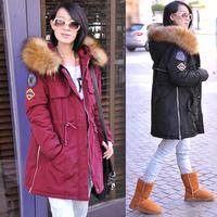 2014 Winter  wadded cotton jacket  female medium-long loose lady warm winter wear over coat  large size