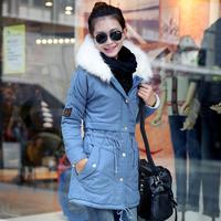 2014 new arrival tooling wadded jacket outerwear women medium-long winter slim waist fur collar thickening cotton-padded jacket